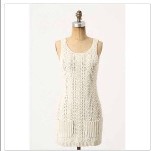 Anthro Far Away From Close Ivory Sweater Dress